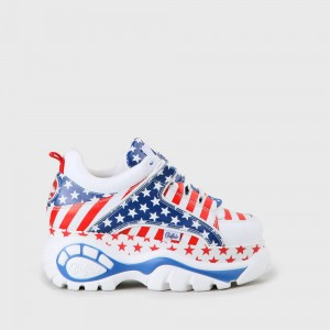 Buffalo London Buffalo Classic Platform White Sneaker USA flag