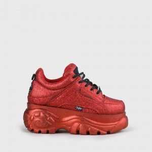 Buffalo London Buffalo Classic Chunky Sneaker Red Glitter