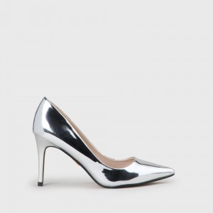 Fanny Pump Faux Leather Silver