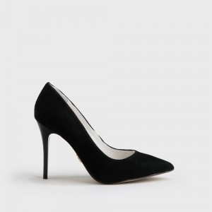 Buffalo pointy pumps suede leather 9 cm black