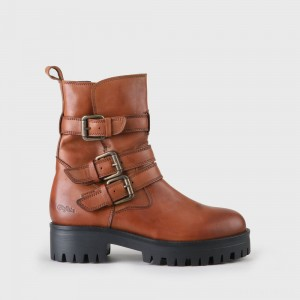 Mauve Morn Ankle Biker Boot nappa leather brown