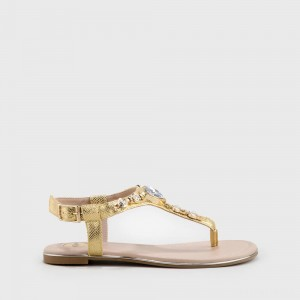 Esra Sandals Snakeskin Pattern Golden