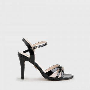 Anja Ankle-Strap Sandal varnish look black