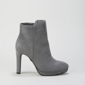 Buffalo Ankle Bootie decorative stitching suede grey