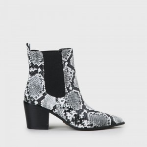 Frances Ankle Cowboy Boot faux leather snake print