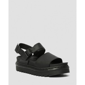 VOSS WOMEN'S LEATHER STRAP SANDALS - BLACK HYDRO LEATHER