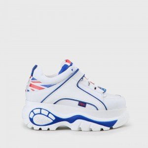 Buffalo Classic Platform Leather White Sneaker UK Flag