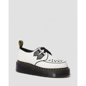 SIDNEY LEATHER CREEPER PLATFORM SHOES - WHITE+BLACK POLISHED SMOOTH