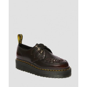 SIDNEY ARCADIA LEATHER CREEPER PLATFORM SHOES - CHERRY RED ARCADIA