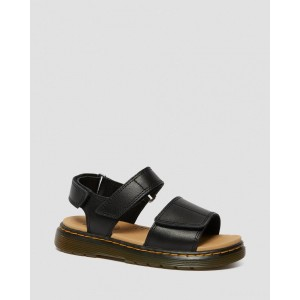 JUNIOR ROMI LEATHER VELCRO SANDALS - BLACK T LAMPER