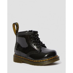 INFANT 1460 PATENT LEATHER LACE UP BOOTS - BLACK PATENT LAMPER