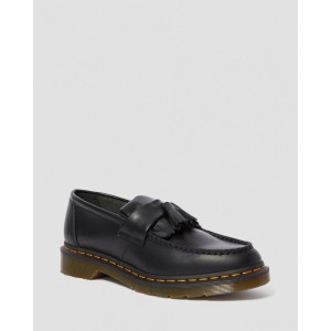 ADRIAN YELLOW STITCH LEATHER TASSEL LOAFERS - BLACK SMOOTH