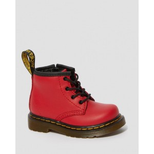 INFANT 1460 LEATHER LACE UP BOOTS - RED ROMARIO