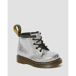 INFANT 1460 CRINKLE METALLIC LACE UP BOOTS - SILVER CRINKLE METALLIC
