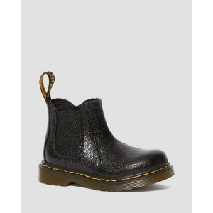 TODDLER 2976 CRINKLE METALLIC CHELSEA BOOTS - BLACK CRINKLE METALLIC