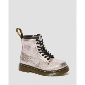 TODDLER 1460 CRINKLE METALLIC LACE UP BOOTS - PINK SALT CRINKLE METALLIC