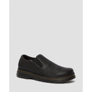 BOYLE MEN'S GRIZZLY LEATHER SLIP ON SHOES - BLACK GRIZZLY