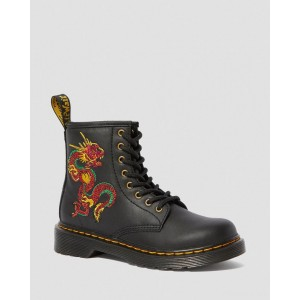 JUNIOR 1460 DRAGON EMBROIDERED BOOTS - BLACK ROMARIO