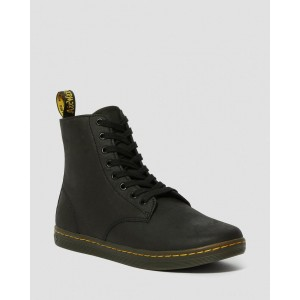 TOBIAS MEN'S LEATHER CASUAL BOOTS - BLACK GREASY LAMPER