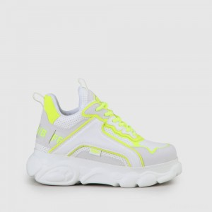 BUFFALO CLD Chai sneaker white/neon yellow